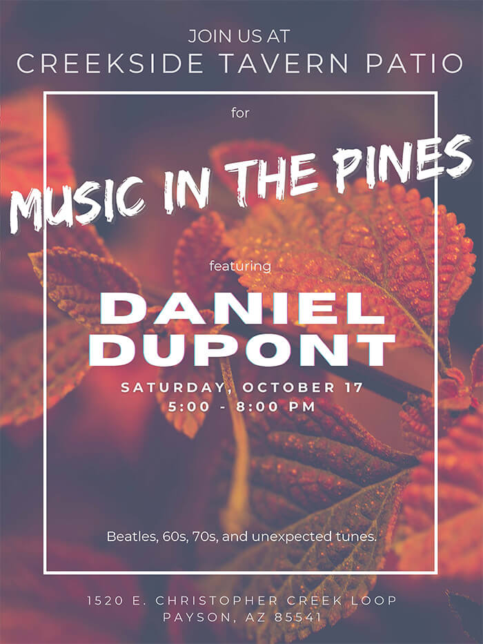 Creekside Tavern Patio - Music in the Pines - Daniel Dupont