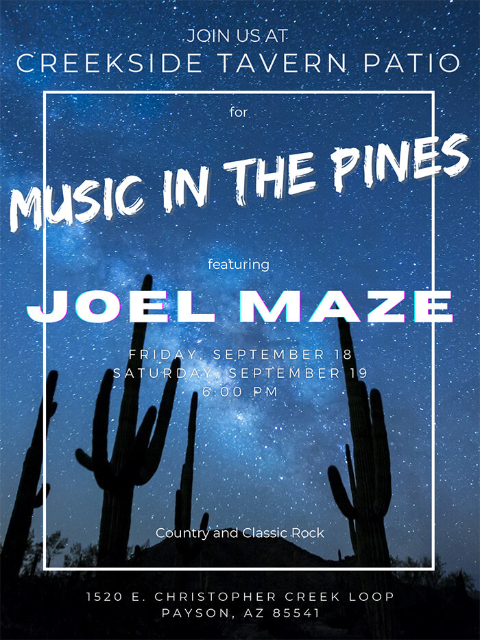 Creekside Tavern Patio - Music in the Pines - Joel Maze